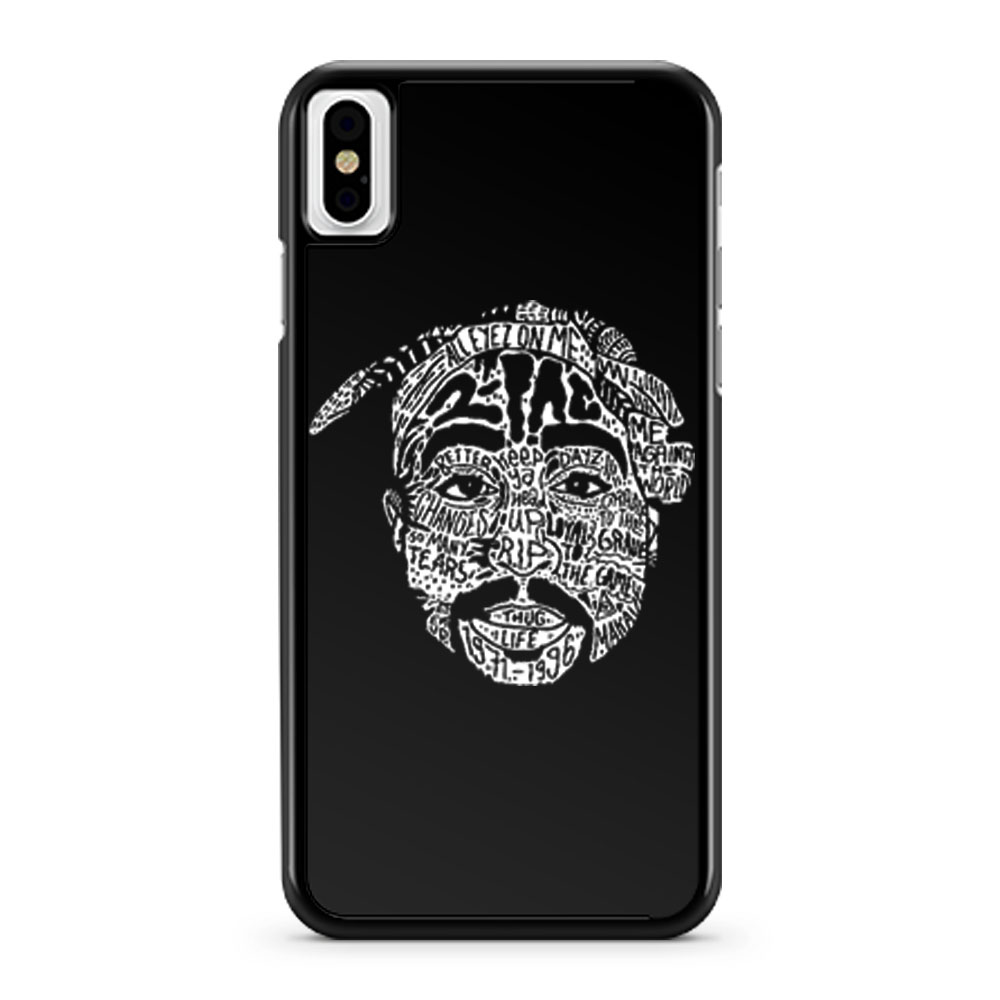 Hip Hop Face Tupac Sakur 2Pac Thug Life iPhone X Case iPhone XS Case iPhone XR Case iPhone XS Max Case