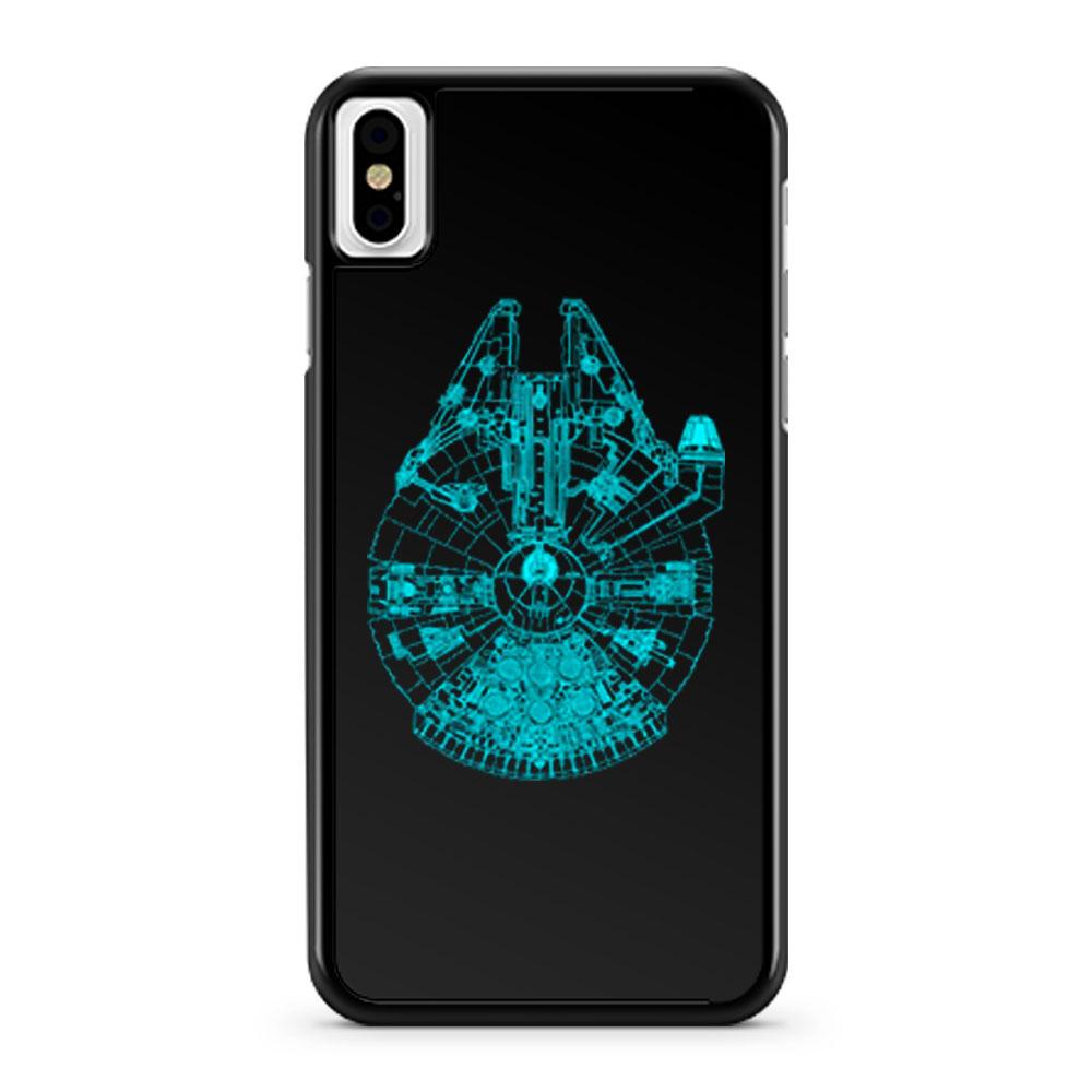 Star Wars Millennium Falcon Blue Outline iPhone X Case iPhone XS Case iPhone XR Case iPhone XS Max Case