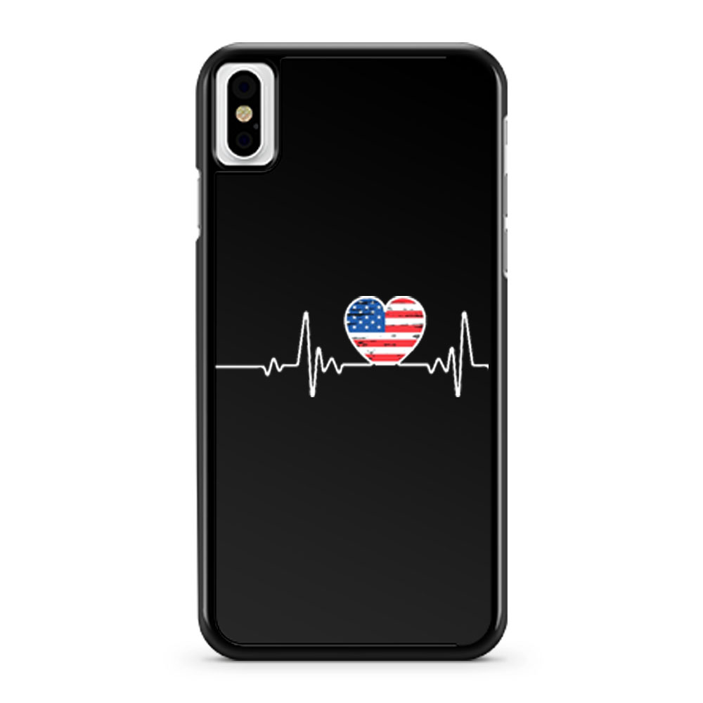 USA Flag Heart 4th Of July iPhone X Case iPhone XS Case iPhone XR Case iPhone XS Max Case