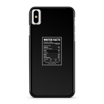 Writer Nutrition Facts iPhone X Case iPhone XS Case iPhone XR Case iPhone XS Max Case