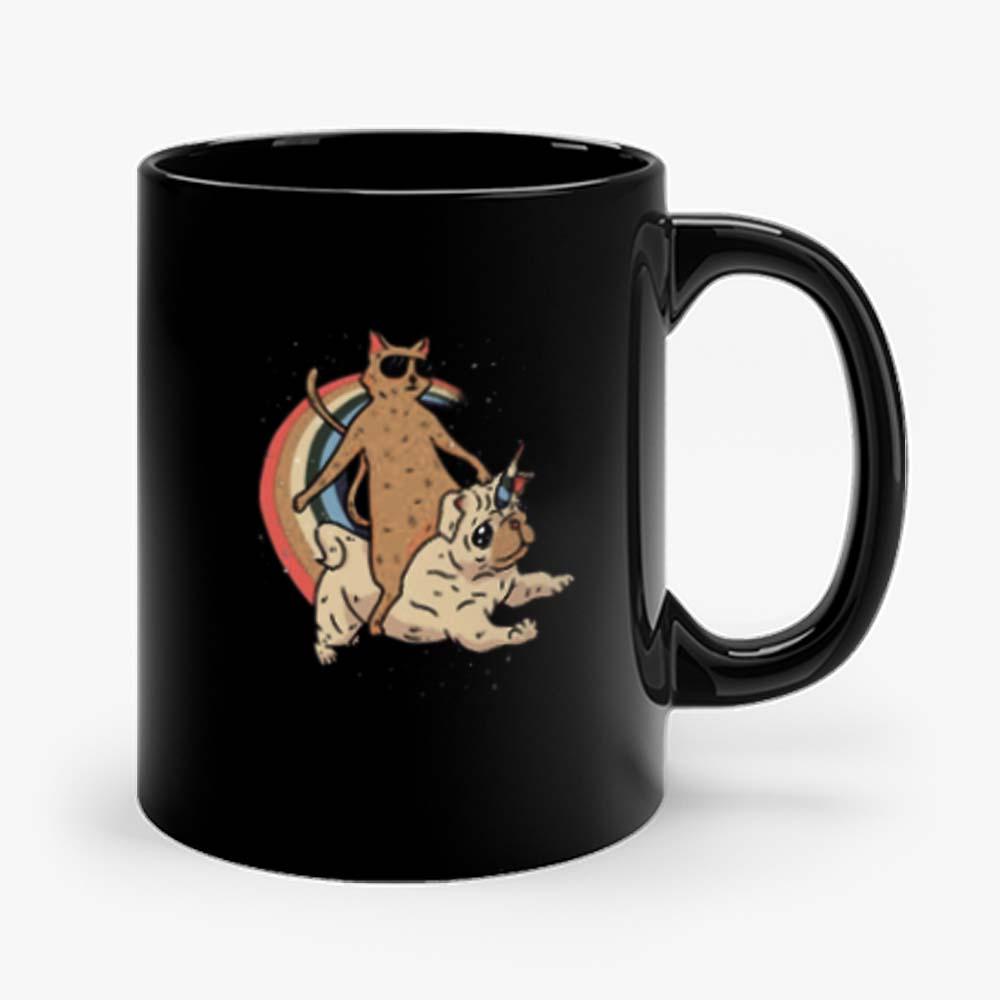 Cat Riding Unidog Vintage Mug