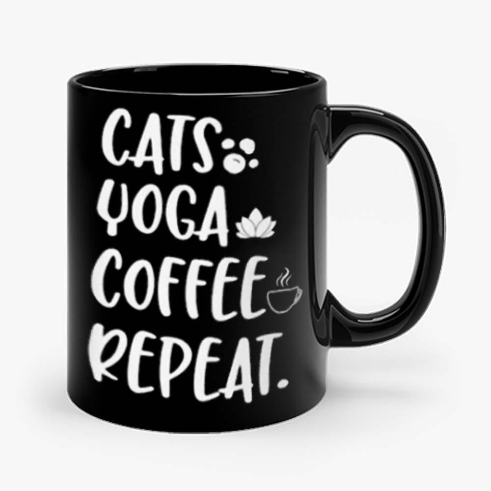 Cats Coffee Caffeine Yoga Mug