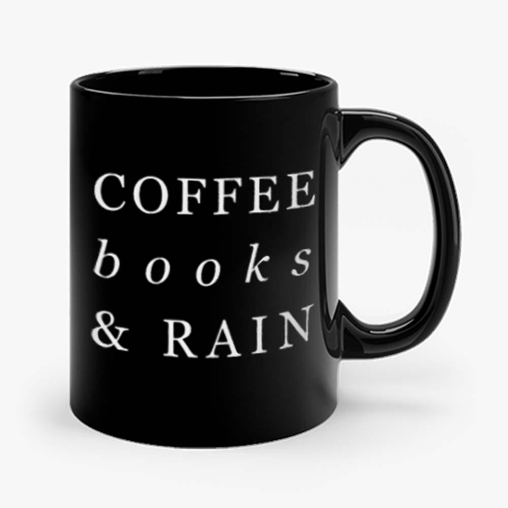 Coffee Books Rain Typography Mug