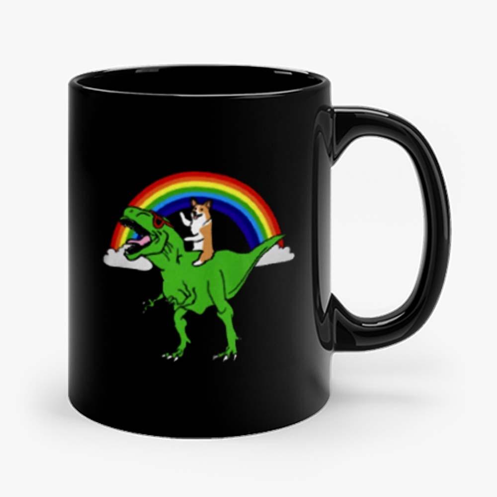 Corgi Riding T Rex Dinosaur Mug