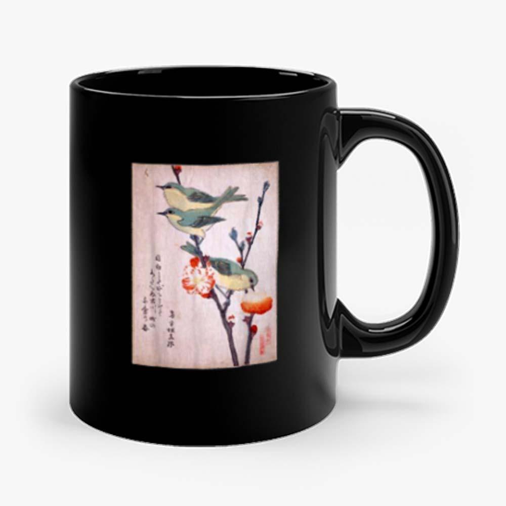 Japanese Art Birds on Peach Tree Blossom Japanese Woodblock Mug