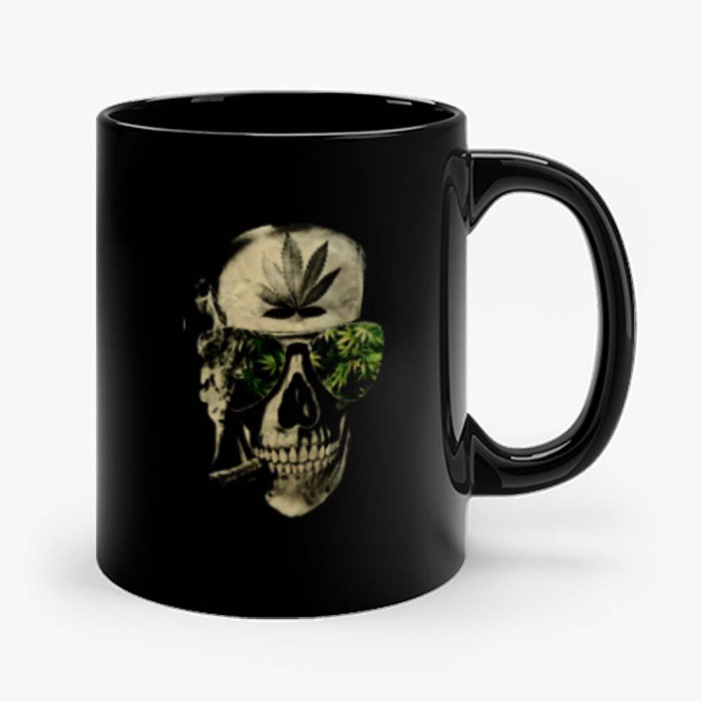 Weed Marijuana Skull Smoking Mug