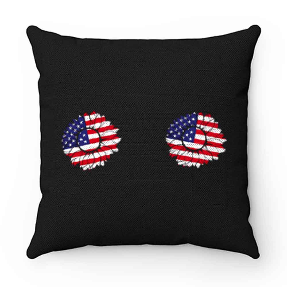 4th of July Sunflower Boobs USA flag Pillow Case Cover