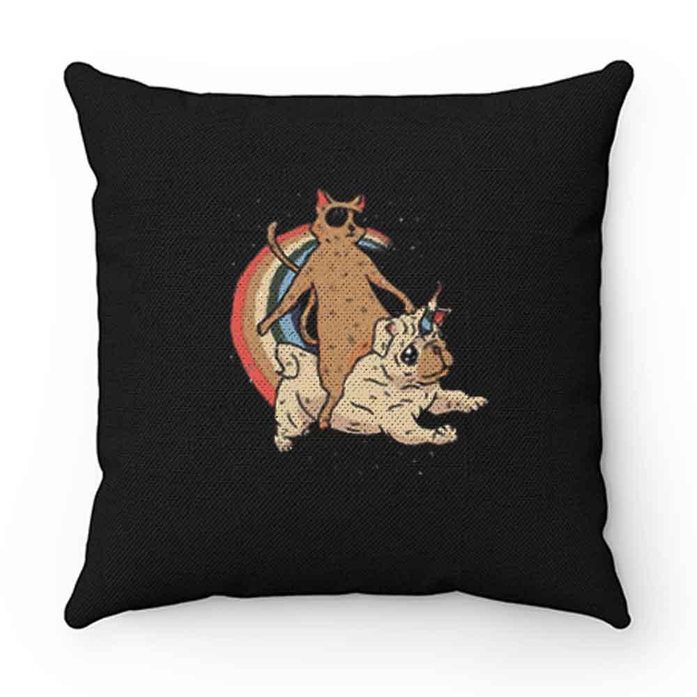Cat Riding Unidog Vintage Pillow Case Cover