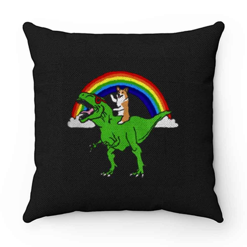 Corgi Riding T Rex Dinosaur Pillow Case Cover