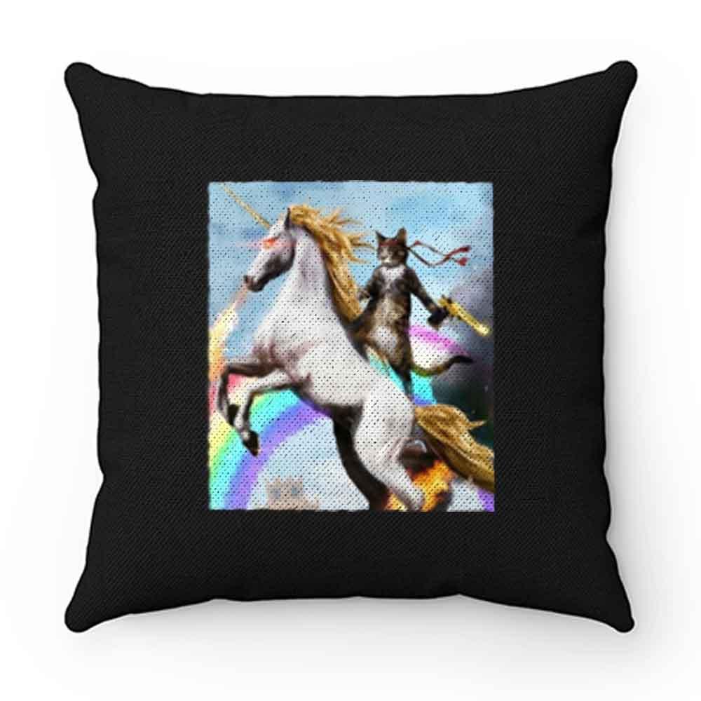 Crazy Cat Unicorn Rainbow Funny Pillow Case Cover